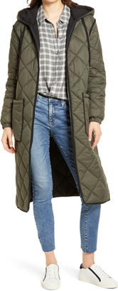 Treasure & Bond Long Hooded Quilted Coat