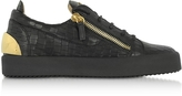 Giuseppe Zanotti Black Embossed Croco Leather Low Top Men's Sneakers
