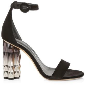 Salvatore Ferragamo Azalea Faceted-Heel Sandals