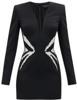 David Koma Mirror-embroidered Crepe Mini Dress - Womens - Black Silver