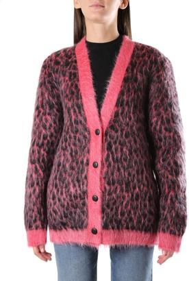 Saint Laurent Leopard Print Jacquard Worsted Knit Cardigan