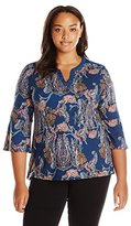 Notations Women's Plus Size 3/4 Bell Sleeve Printed Knit Top with Contrast Neck Placket