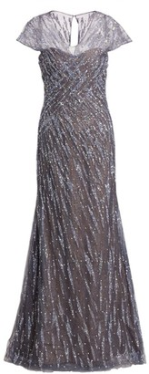 Rene Ruiz Collection Embellished Cap-Sleeve Gown