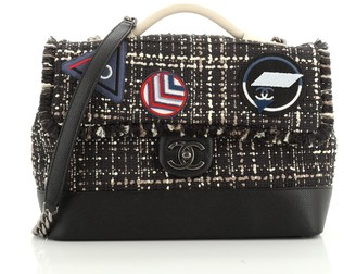 Chanel Crest Trip Flap Satchel Patch Embellished Tweed and Grained Calfskin Large