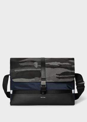 'Reflective Camo' Print Messenger Bag