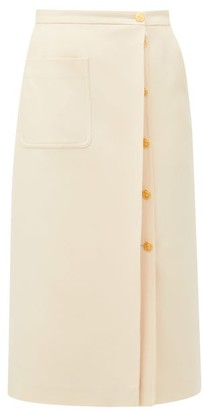 Gucci Logo-button Silk-blend Crepe Skirt - Ivory