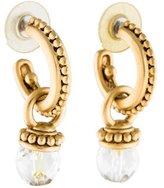 Oscar de la Renta Hoop & Crystal Drop Earrings