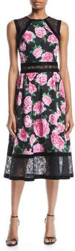 Tadashi Shoji Floral-Print Neoprene Midi Dress w/ Lace Details