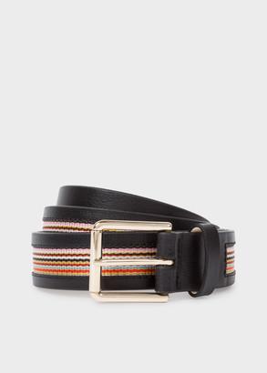 Paul Smith Men's Black 'Signature Stripe' Trim Leather Belt
