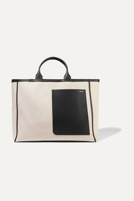 Valextra Shopping Two-tone Leather-trimmed Canvas Tote - Beige