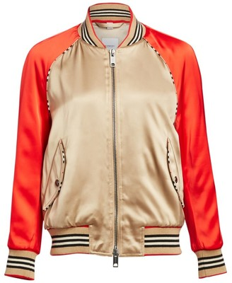 Burberry Harlington Logo Patch Satin Bomber Jacket