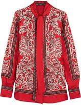 Alexander McQueen Paisley-print Silk-twill Blouse - Red
