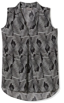 Vince Camuto Fan-Print Center-Pleat Sleeveless Blouse