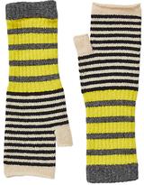 Jigsaw Kilda Striped Fingerless Mittens, Grey/Multi