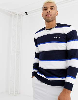 Nicce long sleeve t-shirt with stripes in navy