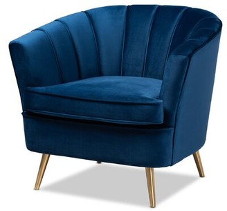 Mercer41 Whitener Glam and Luxe Velvet Fabric Upholstered Armchair Upholstery Color: Navy Blue