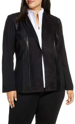 Ming Wang Faux Leather & Suede Patchwork Jacket