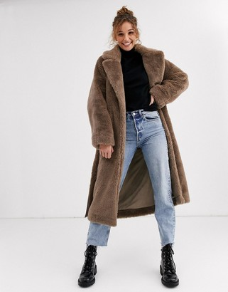 Moon River long teddy coat-Brown