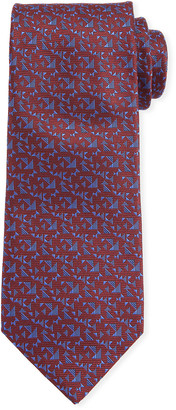 Canali Men's Triangle Neat Silk Tie, Red