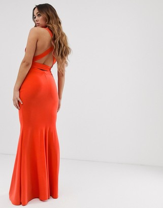 Club L London Strappy Cross Back Maxi Dress in Orange