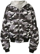 Juun.J camouflage print hooded bomber jacket