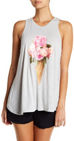 Betsey Johnson Ice Cream Peonies Racer Tank Top