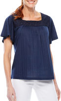 Sag Harbor Denim And Chambray Short Sleeve Square Neck T-Shirt-Womens