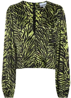 Ganni Tiger-print stretch-silk blouse