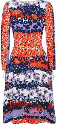 Lela Rose Flared Floral-print Crepe Dress
