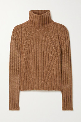 Tom Ford Ribbed Silk, Mohair And Cashmere-blend Turtleneck Sweater - Camel