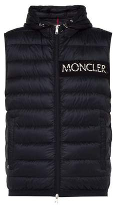 Moncler Laruns Down Filled Logo Print Gilet - Mens - Navy