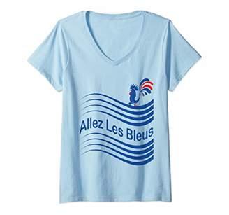 Womens France Soccer Allez Les Bleus France Flag Football Gift V-Neck T-Shirt