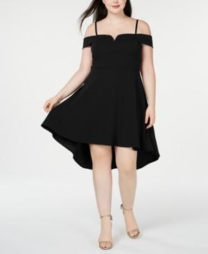 City Studios Trendy Plus Size Cold-Shoulder High-Low Dress
