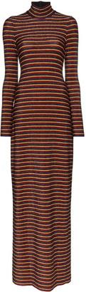 Rosetta Getty Metallic Stripe Turtleneck Maxi Dress