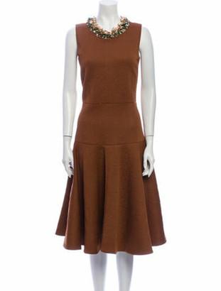 Marni Scoop Neck Midi Length Dress Brown