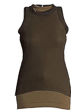 Sacai Women's Chiffon & Cotton Layered Tank