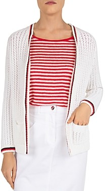 Gerard Darel Engie Striped Trim Knit Cardigan
