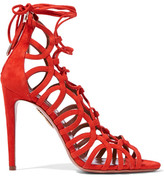 Aquazzura Oh Lala Lace-up Suede Sandals - Bright orange
