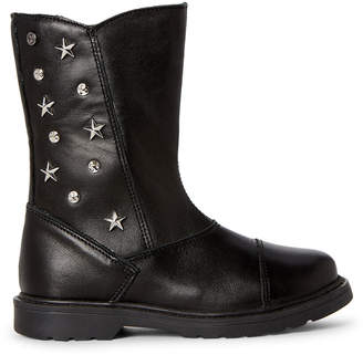Naturino (Toddler/Kids Girls) Black Studded Tall Leather Boots