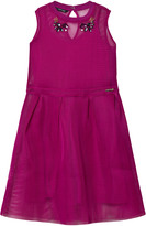 GUESS Fuchsia Mesh Dress with Jewelled Details