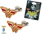 DC Licensed Comics Wonder Woman Logo 316L Stainless Steel Stud/Post Earrings (with Gift Box)