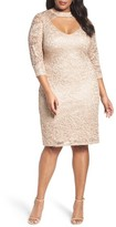 Marina Plus Size Women's Cutout Sequin Lace Sheath Dress