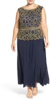 Pisarro Nights Embellished Bodice Mock Two-Piece Dress (Plus Size)