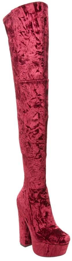 Alice + Olivia Women's Geneva Over-the-Knee Velvet Boots