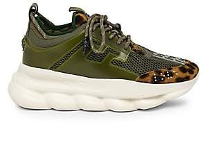 Versace Men's Chain Reaction Calf-Hair & Textile Sneakers