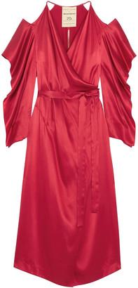 Roland Mouret Serena Cold-shoulder Silk-satin Midi Wrap Dress