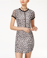Ultra Flirt Juniors' Animal-Print Mesh T-Shirt Dress