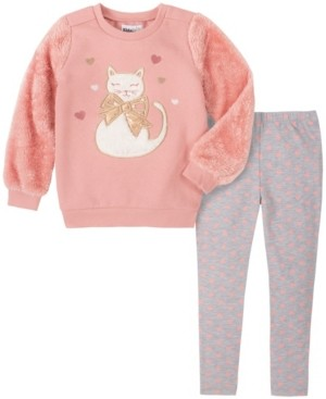 Kids Headquarters Toddler Girl 2-Piece Fleece with Cat Top with Heart Print Legging Set
