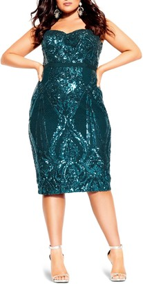 City Chic Sofia Embellished Strapless Sheath Dress
