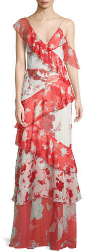 Alice + Olivia Olympia Asymmetric Silk Ruffle Maxi Dress